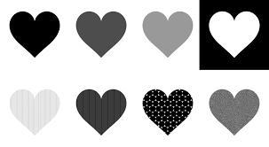 シンプルなハートマーク 白黒グレーパターン ハートの素材屋