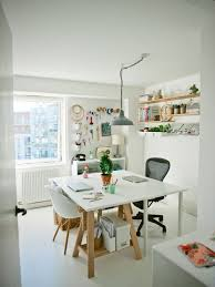scandinavian home office. Photo Of A Scandi Craft Room In London With White Walls, Painted Wood Flooring And Scandinavian Home Office F