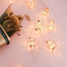 2019 rose gold led light string outdoor holiday lights balcony chandelier bedroom wedding party decoration birdcage night lights from minggame001