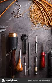top view professional tools leather stuff g lacing needles table stock photo