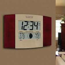 large atomic digital wall clock with indoor outdoor temperature and date sharp projection alar