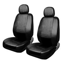 black faux leather car auto truck front seat cover w headrest cover com