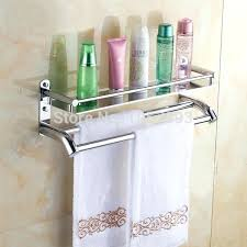 wall mounted bathroom shelves triple tier stainless steel bathroom shelf with towel rack wall mounted bathroom