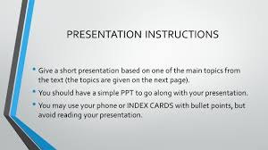 final presentation % of your total grade presentation  2 presentation instructions