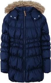 quilted down coat in dark blue with detachable faux fur hood for girls from ticket to heaven the wonderfully light coat keeps you warm on cold days and