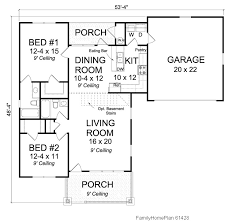 small house and porch plan 61428 by family home plans