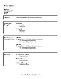 Professional Strengths Resume Sales Representative Resume Template