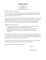 Cover Letter Accounting Position Leading Professional Payroll