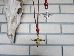 Red Jasper Charms Of Light Jasper Necklace 01 Bull Skull Brown Leather Red Jasper Bold