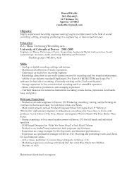 Awesome Audio Engineer Resume Template Sample With Objective And Skills And  Relevant Experience