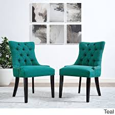 regent dining side chair fabric set of 2 in teal lexmod