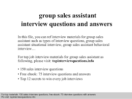 group interview questions group sales assistant interview questions and answers