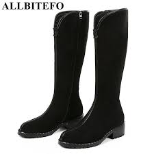 allbitefo natural genuine leather women high boots winter fashion girls over knee boots y high heel thigh
