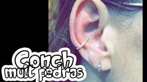 Conch Mult Pedras Piercing Orelha Youtube