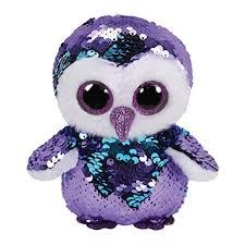 Мягкая <b>игрушка TY</b> Flippables Фиолетовая сова Moonlight 12 см ...