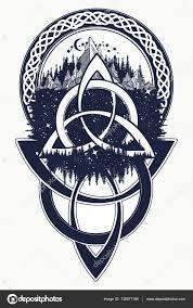 Tetování Keltský Uzel Hory Les Symbol Cesty Symetrie Stock