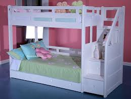 Childrens Solid Wood White Bunk Bed Staircase Storage Drawers ...