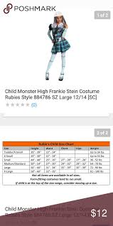 Rubies Costume Size Chart Monster High Frankie Stein Child Costume Monster High