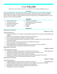 Maintenance Technici Stunning Maintenance Resume Sample Free