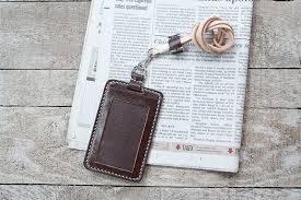 natural vegetable tanned custom leather id holder italian leather shoulder only vertical leather lanyard included handmade macondo leather