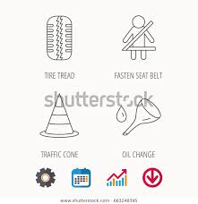 Tire Thickness Chart Tire Tread Traffic Cone Oil Change Stock Vector Royalty