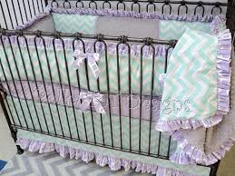 mint lavender gray baby bedding