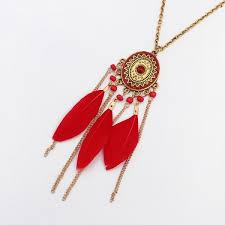red feather pendant necklace fashion long chain necklac