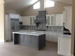 White Shaker Kitchen Island With Grey Ideas