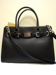 new michael kors hamilton black large leather purse or tote