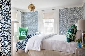 navy blue and kelly green bedroom with blue diamond print settee