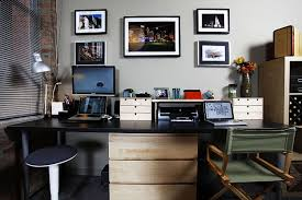 modern home office decorating ideas. Decorations : Awesome Modern Home Office Design Ideas With Rectangle Black Painted Computer Desk Combine Round Swivel Chair Also White Wood Decorating