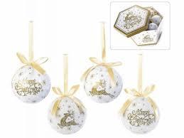 14 Weihnachtskugeln Weiß Gold Decoupage Christbaumschmuck