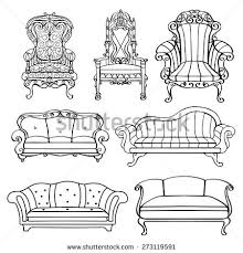 fancy couch drawing. Interesting Fancy Furniture Chair Armchair Throne Sofa Couch Divan Bed Front View And Fancy Couch Drawing A
