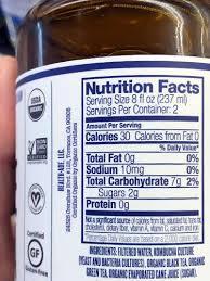 health ade kombucha nutrition facts label