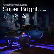 Bright Rock Lights Mictuning 8 Pods Set Rgb Led Rock Lights Bluetooth Control Multicolor Neon Led Light Kit For Jeep Truck Car Atv Suv Vehicle Boat