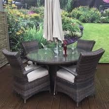 florence rattan 4 seat round dining set