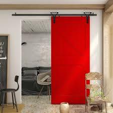 red barn door. WinSoon 5-18FT Sliding Barn Door Hardware Aluminum Rollers Track Kit Cabinet Closet New Design Red