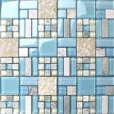 backsplash tiles kitchen blue glass stone blend mosaic natural marble bathroom shower wall tiles 8837