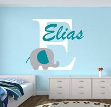 custom name elephant wall stickers for kids room personalized boys name bedroom nursery wall art pic baby vinyl wall decals d671 in wall stickers from home  on vinyl wall art boy nursery with custom name elephant wall stickers for kids room personalized boys