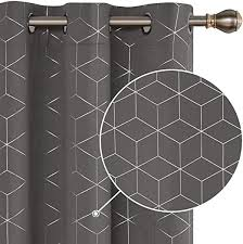 Deconovo Sliver <b>Diamond</b> Foil <b>Print</b> Blackout Curtains Room ...