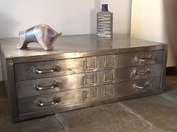 vintage industrial metal plan chest