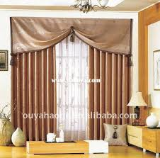 jacquard polyester window curtain panel with attached valance oyhg