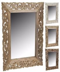 Mirror With Wood Frame Design Details About Large Wood Wall Mirror With Leaf Design In The