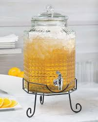 3 gallon glass beverage dispenser with metal stand party cold ice drink new