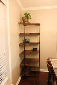 corner furniture design. l shaped copper frame corner shelf with brown wooden racks attched on cream painted wall adorable tall shelves for storage ideas furniture design h