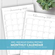 2019 2020 Monthly Printable Calendar Laura Kinker
