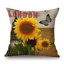 Retro <b>Printing</b> Cotton Butterfly <b>Sunflower</b> Cushion <b>Sofa</b> Home Decor ...