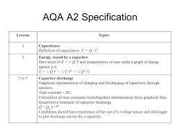 aqa a2 specification lessonstopics 1capacitance definition of capacitance c q v 2energy d