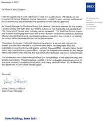 Letter Of Recommendation From Beck General Contractor