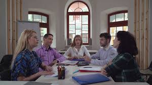 the office the meeting. Portrait Successful Young Business Team In Contemporary Office. Diverse Group Of People At The Meeting Office